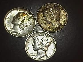 1941 1943 1944 Mercury Dimes - Set of 3 Coins - 10c AU/BU US Mint
