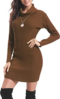 Abollria Women Long Sleeve Turtleneck Knit Stretchable Elasticity Sweater Bodycon Dress
