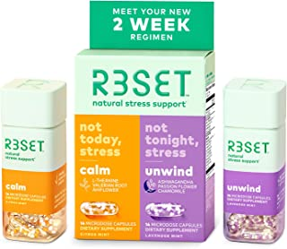 R3SET Day & Night Combo, Stress & Occasional Feelings of Anxiety & Sleep Support Supplement, with Chamomile, Vitamin D3, O...