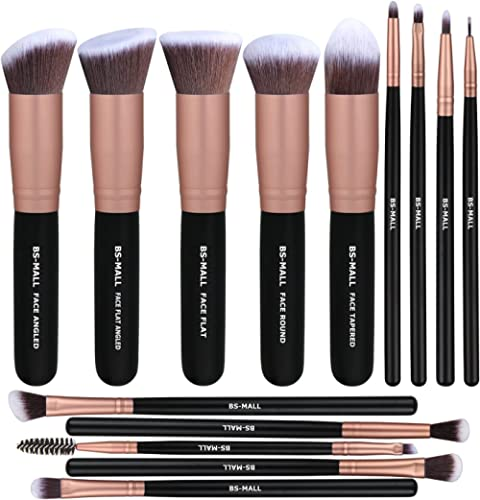 BS-MALL Makeup Brushes Premium Synthetic Foundation Powder Concealers Eye Shadows Makeup 14 Pcs Brush Set, Rose Golde...