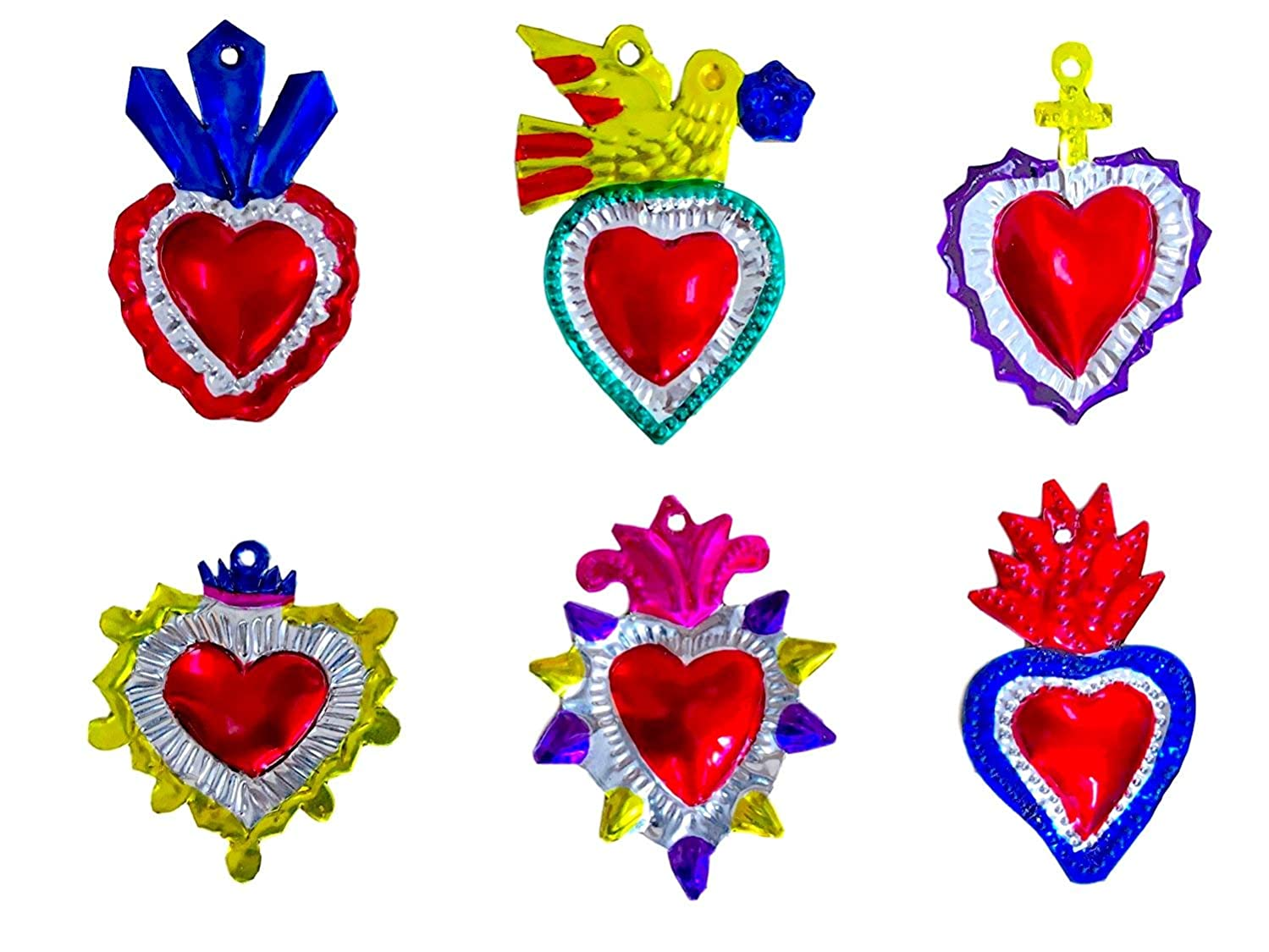 Milagros Charms - Tin Painted Sacred Heart Ornaments - Mexican Art (Set of 6) - Multicolor