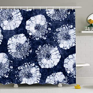 Ahawoso Shower Curtain Set with Hooks 72x72 Blue Indigo Abstract Shibori Floral Dot Dyed Pattern Navy Bleached Blot Bold Grain Brushed Damaged Waterproof Polyester Fabric Bath Decor for Bathroom