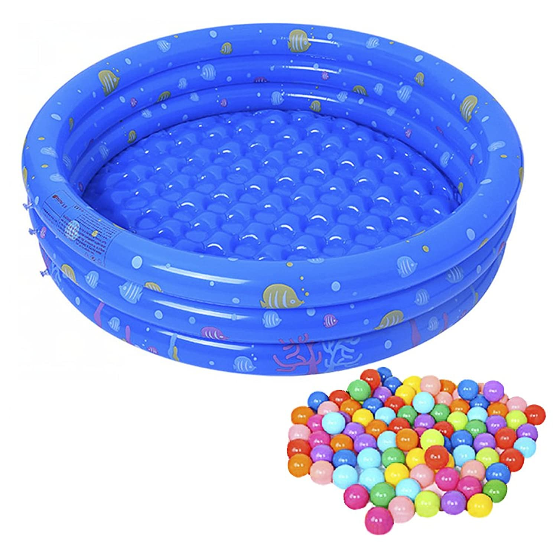 Firlar 赤ちゃん用空気注入式ボールプール、膨らませて膨らむ太いベビーオーシャンボールプール50個、カラフルなオーシャンボール、屋内屋外ゲームハウス、赤ちゃんと子供向け玩具 80cm ブルー Z54HX17E154