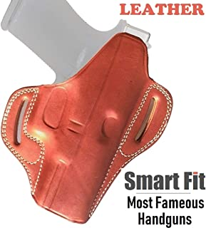 OWB for Glock 19 HOLSTER LEATHER Fits Mid Size Pistols 9mm 40 45 Concealed Carry Gun Fit Glock G19 23 26 27 H&K VP9 Springfield XD XDS Sig Sauer p38 S&W 457 Walther PPQ Beretta 84 (Classic Tan Brown)