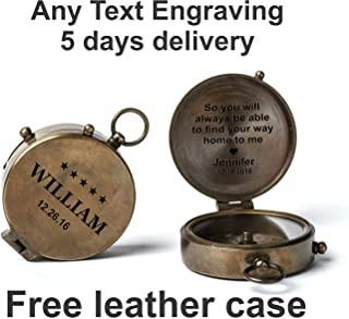 Personalized Compass, Engraved Compass, Wedding Gift, Groomsmen Gift, Wedding Keepsake, Christmas, Baptism, graduation, boy scouts, sundial, nautical, anniversary, fathers day, with free leather case