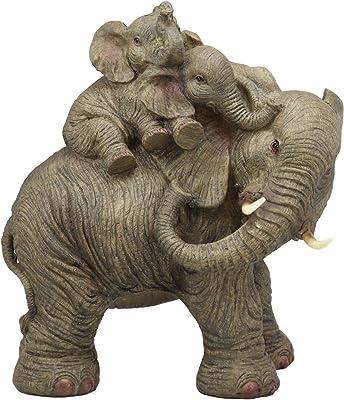 "10/""H 44284 Polystone Mirror Elephant Sculpture 14/""W"