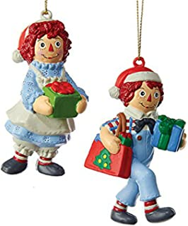 Kurt Adler 2 Assorted Raggedy Ann And Raggedy Andy Blow Mold Multiples Christmas Ornament
