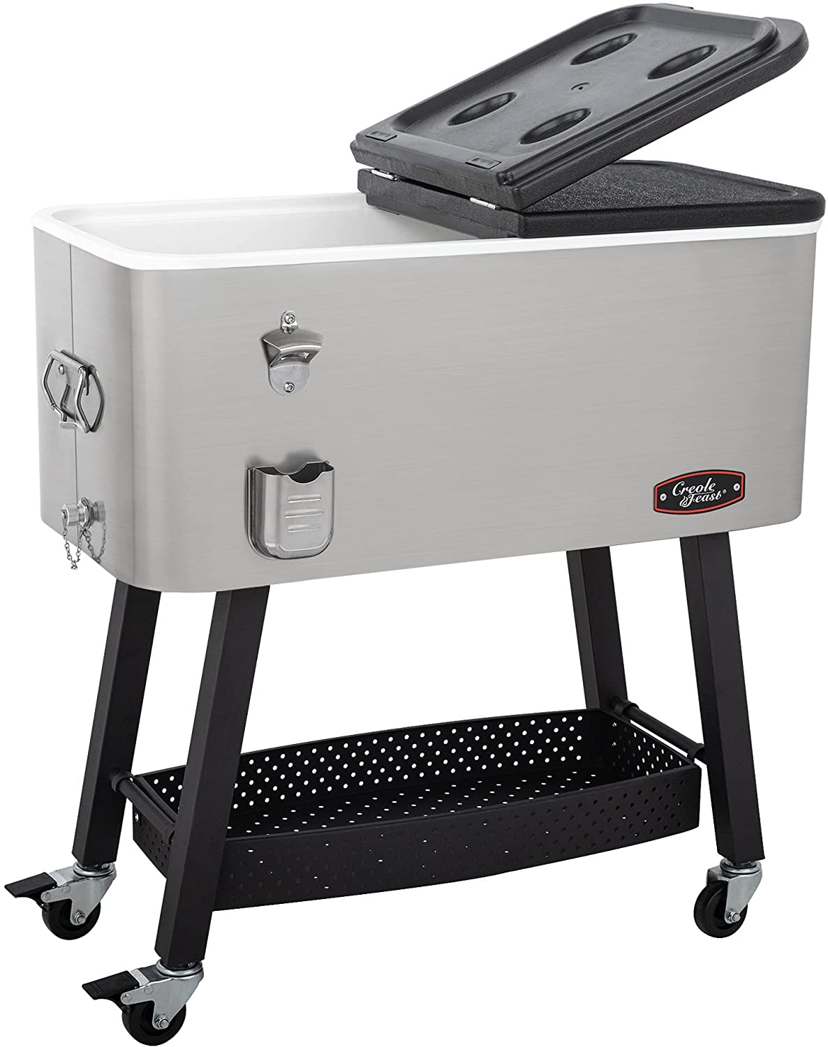 CreoleFeast CL8001S 80-Quart Premium Rolling Cooler, Stainless Steel Portable Cold Drink Beverage Cooler Cart for Outdoor Patio, Tailgating, Poolside BBQ Party, Silver