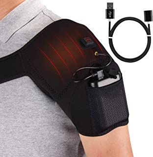 USB Heated Pain Relief Therapy Shoulder Brace for Rotator Cuff, Frozen Shoulder, Arthritis, Sport Injuries with 3 Adjustable Heating Modes, Auto Turn Off, Fit from S to L Size Body
