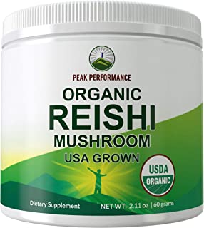 Organic Reishi Mushroom Powder (USA Grown) by Peak Performance. USDA Organic Vegan Mushrooms Supplement for Immunity Suppo...