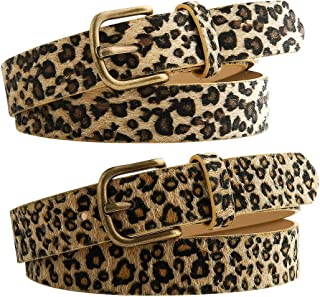 BKpearl 2 Pack Women's Leopard leather Belt, Fashion Waist Belt with Alloy Buckle for Jeans Pants