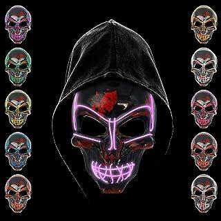 comprar comparacion KiraKira Máscara LED Halloween, Halloween LED Máscaras Adultos LED Mask para la Fiesta de Disfraces, Máscara Disfraz Lumin...