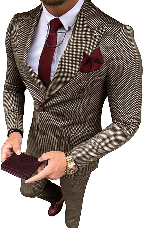 Men's 2 Pieces Classic Mens Suit Double Breasted Slim Fit Blazer Tuxedos for Wedding Groomsmen(Blazer+Pants)