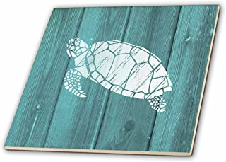 3dRose Turtle Stencil in White Over Teal Weatherboard-not Real Wood-Ceramic Tile, 12-inch (ct_220428_4), Multicolor