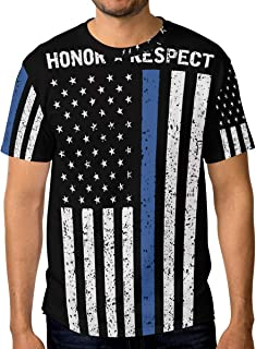 Feim-AO Men's 3D T-Shirts Honor Respect Thin Blue Line Police Crewneck Casual Short Sleeve Tees