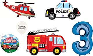 (1st-9th Birthday Option) Rescue Team Ambulance Fire Truck Police First Responders Themed Birthday Party Balloon Bouquet Bundle (3rd Birthday)