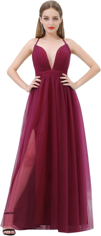 Ikerenwedding Women's VNeck Beaded Applique Ruffle Tulle Bridesmaid Dress