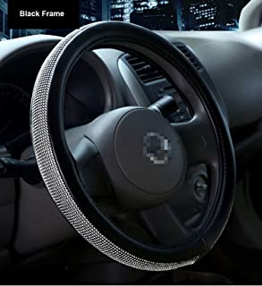 Sino Banyan Diamond Steering Wheel Cover PU Leather Case, with Bling Bling Crystal Rhinestones, Universal 15 Inch Protector for Women, Black Frame