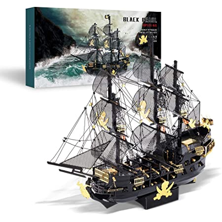 Piececool 3D Metal Model Kits for Adults - Black Pearl DIY 3D Metal Jigsaw Puzzle,Ideal Christmas Birthday Gifts for Adults,307Pcs