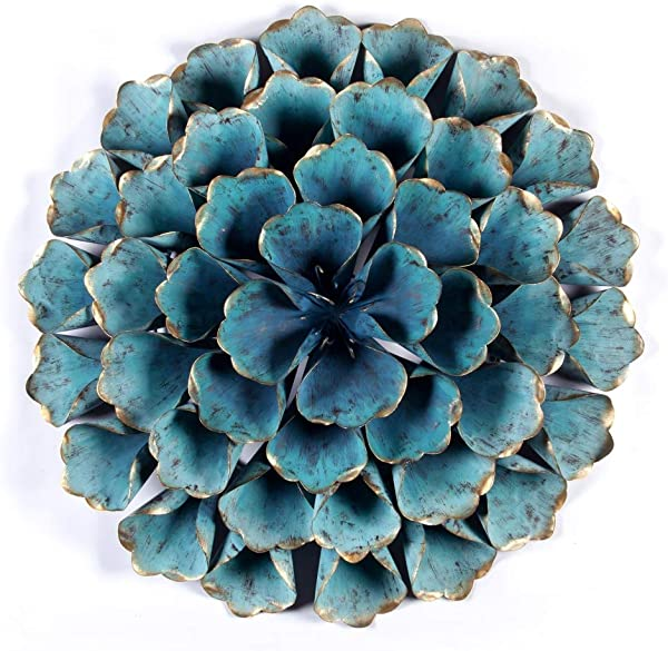 Winsome House 23 5 Diameter Teal Flower Metal Wall Sculpture In Distressed Teal
