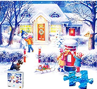100 Pieces Jigsaw Puzzles Puzzles Artwork Christmas Snowman Winter Xmas Art for Teen Adult Grown Up Jigsaw Puzzle Toy Educational Games Gift 100 PCS Home Decor Jigsaw Puzzle Toys Games Merry Christmas