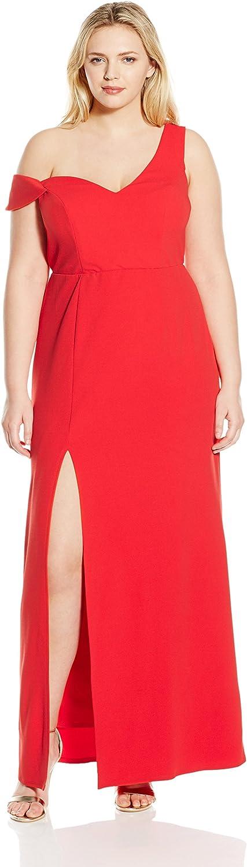 ABS by Allen Schwartz Womens Sleeveless Asymetric Off Shoulder Gown Dress