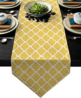 FAMILYDECOR Linen Burlap Table Runner Dresser Scarves, Geometric Patterned Yellow Kitchen Table Runners for Dinner Holiday Parties, Wedding, Events, Decor - 13 x 90 Inch