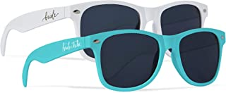 Bride Tribe + Bride Sunglasses - Gifts, Favors, Accessories for Bachelorette Parties, Weddings, and Bridal Showers (Turquoise, 10 Piece Set)