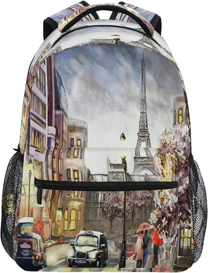 ATTX Eiffel Gifts Tower Oil Painting Backpack f Travel Over item handling Daypacks Casual