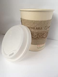 World Centric Compostable Tree Free Coffee Cup Combo 10 Ounce Cup, Lid and Sleeve (500 Sets : 1500 Units)