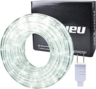 ollrieu LED Rope Lights Outdoor White 50ft Waterproof Flexible Strip Light Kit Indoor Connectable 110V 6000K UL Listed Power Plug-in Decorative Lighting for Bedroom Patio Kitchen Deck