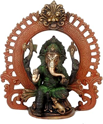"StealStreet SS-IA-BW105 9"" Brass Ganesha Under an Arch Tri Color"