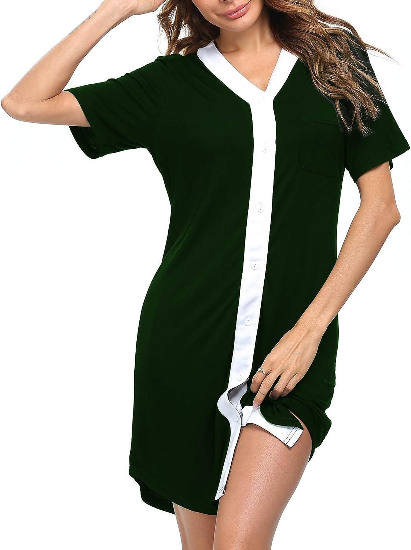 LecGee Womens Short Sleeve Modal Sleepwear Casual V Neck Nightgown Oversized Nightshirt Loose Comfy Pajama Loungewear