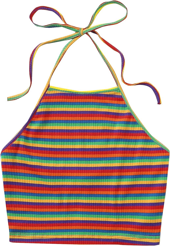 SOLY HUX Women's Plus Size Sun Moon Print Casual Halter Cami Crop Top