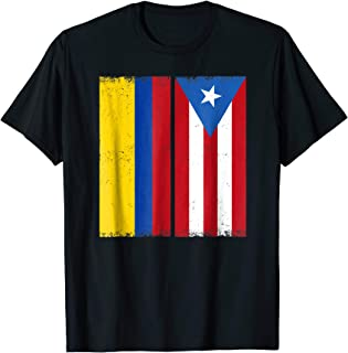 Colombian Puerto Rican Flag T-shirt Vintage PR Colombia Tee