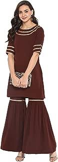 Janasya Women's Brown Crepe Short Kurti With Sharara