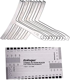 Yookay Set of 9 Understring Radius Gauge +Double Sided String Action Ruler Gauge Luthier Tool for Guitar and Bass Setup