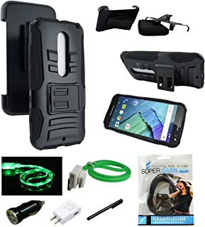 Moto X Pure Edition Case - MStechcorp Full Body Rugged Holster Smartphone Cover with Kickstand & Swivel Belt Clip for Motorola Moto X Style / Pure Edition 2015 - Includes Accessories (H Black)