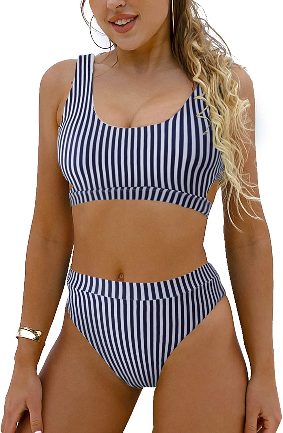 Blooming Jelly Women's High Waisted Swimsuit Crop Top Cut Out Two Piece Cheeky High Rise Bathing Suit Bikini