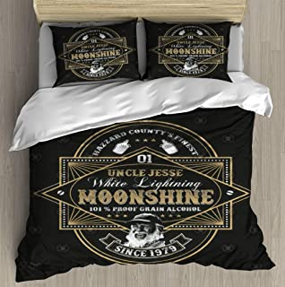 Duvet Cover Set Uncle Jesse Moonshine Dukes of Hazzard T Shirt Bedding Set Comforter Cover with Zipper Closure, Bed Quilt Cover Pillow case for Girls Boys, 90