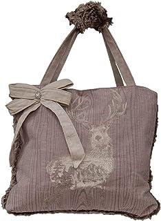 Lazis Trachtentasche Shopper hellbraun aus Baumwolle mit Hirsch Stickerei und Fell 50x40 cm