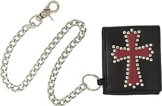 محفظة رجالية قابلة للطي من C-Red مزودة ببطانة من الجلد الأحمر ومزينة بمسمار مع سلسلة قابلة للإزالة