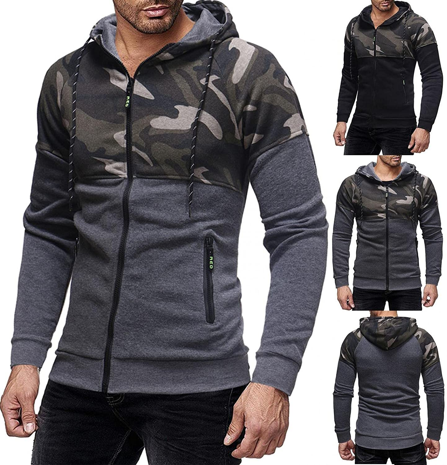 Men's Hoodie Camouflage Patchwork Athletic Sweatshirt Long Sleeve Drawstring Workout Pullover Tops Gym Hooded with Pocket