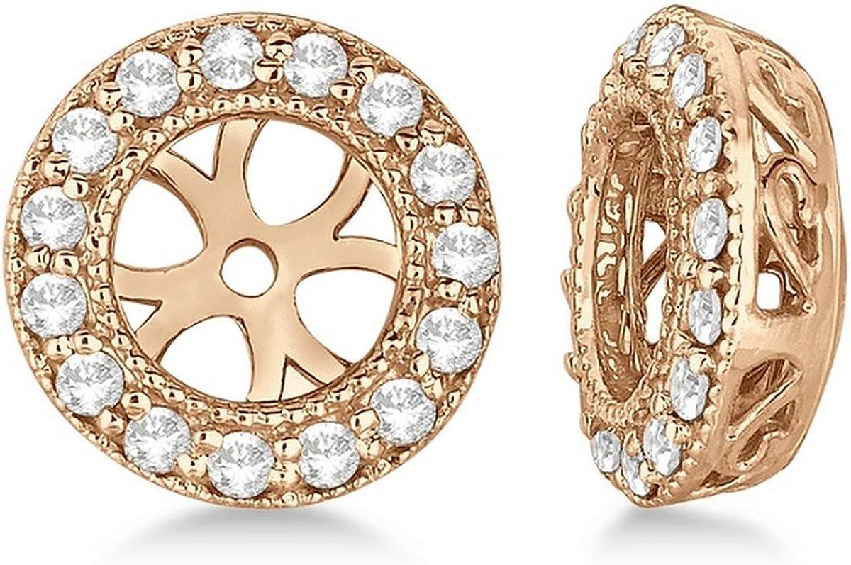 14k Gold Vintage Round Cut Diamond Earring Jackets (0.22ct)