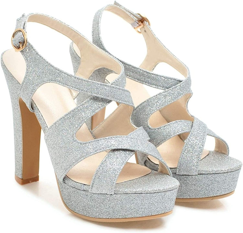 Pink gold Summer Ladies shoes Buckle Platform Thick Heel Women high Heels Sandals
