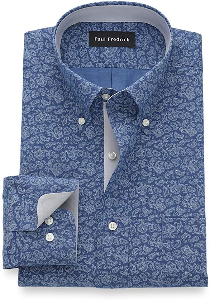 Paul Fredrick Men's Tailored Fit Non-Iron Cotton Paisley Button Down Dress Shirt