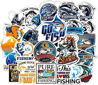 Honch Vinyl Go Fishing Stickers 50 Pcs Pack Blue Stickers Fly Fishing Decals Bass Fishing Stickers for Laptop Ipad Car Luggage Water Bottle Helmet Truck