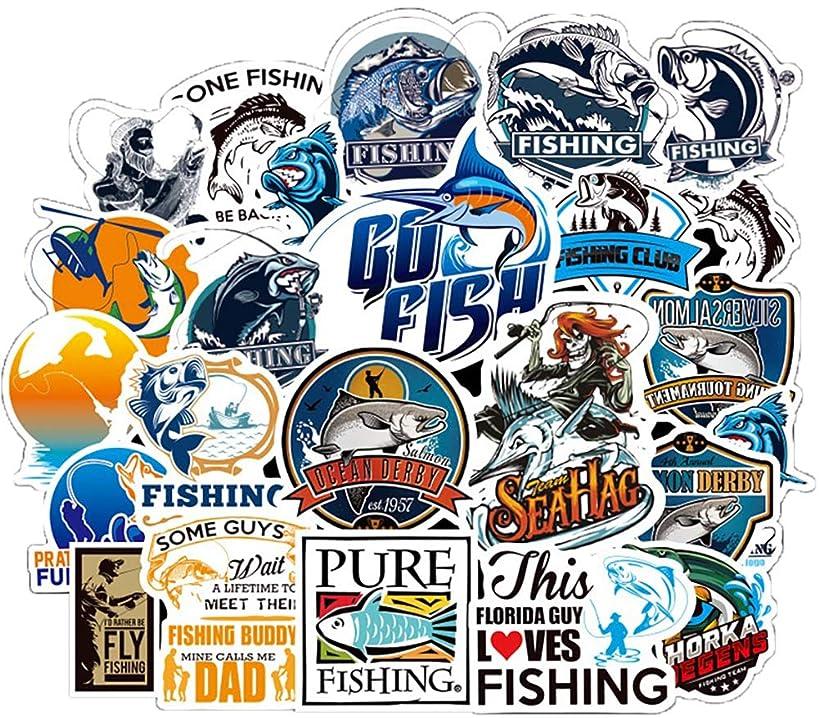 Honch Vinyl Go Fishing Stickers 50 Pcs Pack Blue Stickers Fly Fishing Decals Bass Fishing Stickers for Laptop Ipad Car Luggage Water Bottle Helmet Truck