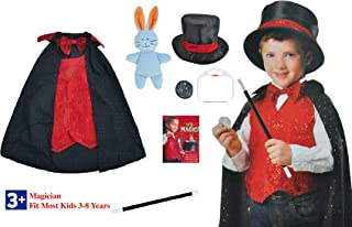 Yalla Baby Kids 5pcs Magic Magician Role Play Costume Set for Kids - Includes Hat, Cape, Wand, Magic Tricks Frustration-Fr...