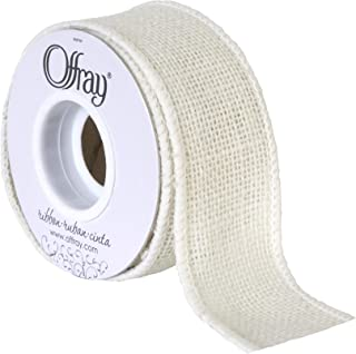 "Berwick Offray 1.5"" Wide Craft Burlap Ribbon, White, 3 Yards"